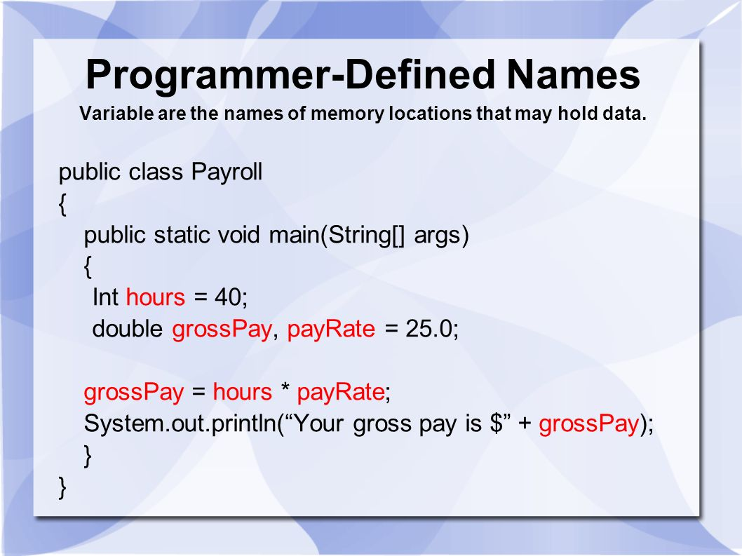 Programmer-Defined Names Variable are the names of memory locations that may hold data.