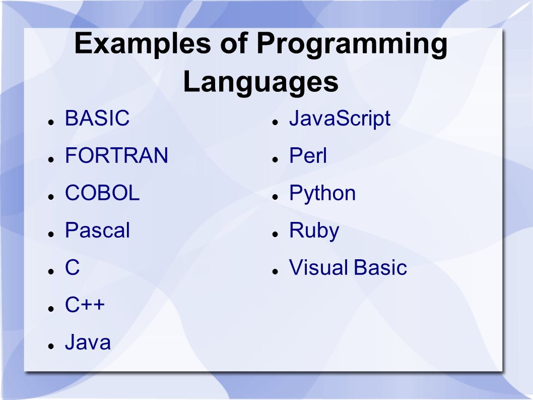 Examples of Programming Languages