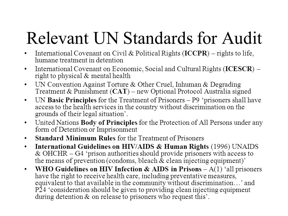 Relevant UN Standards for Audit