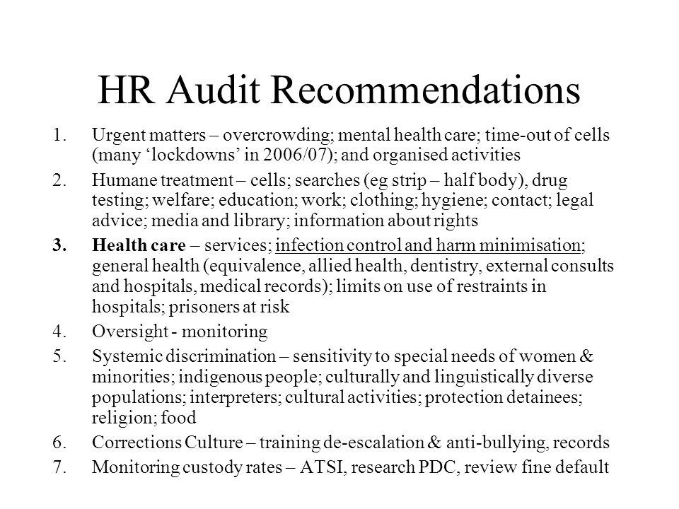 HR Audit Recommendations