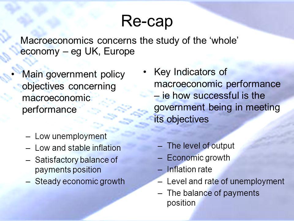 Re-cap Macroeconomics concerns the study of the 'whole' economy – eg UK, Europe.