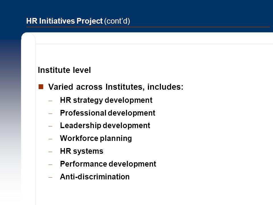 HR Initiatives Project (cont'd)