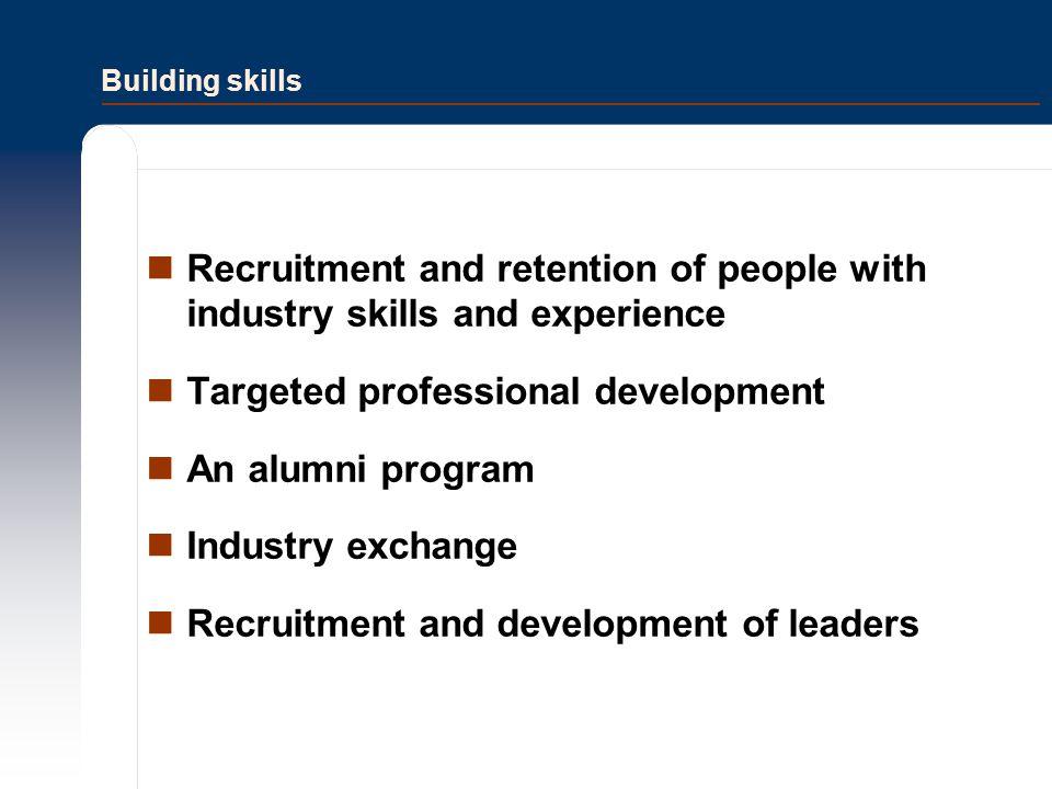 Targeted professional development An alumni program Industry exchange