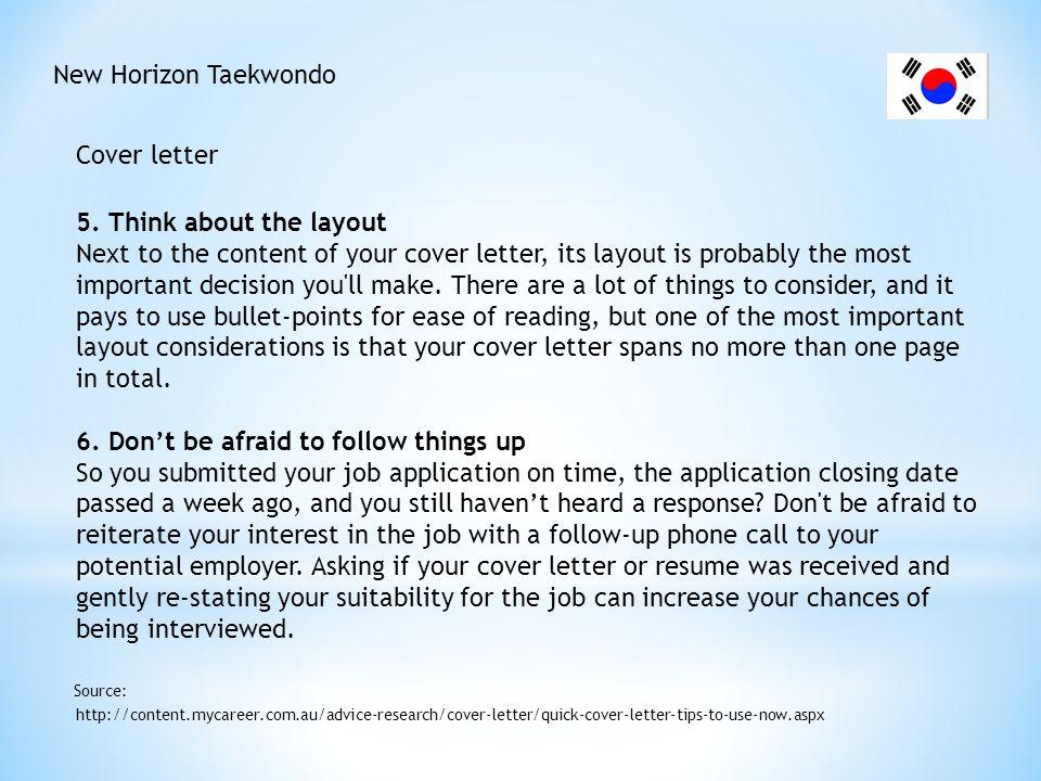 New Horizon Taekwondo Cover letter