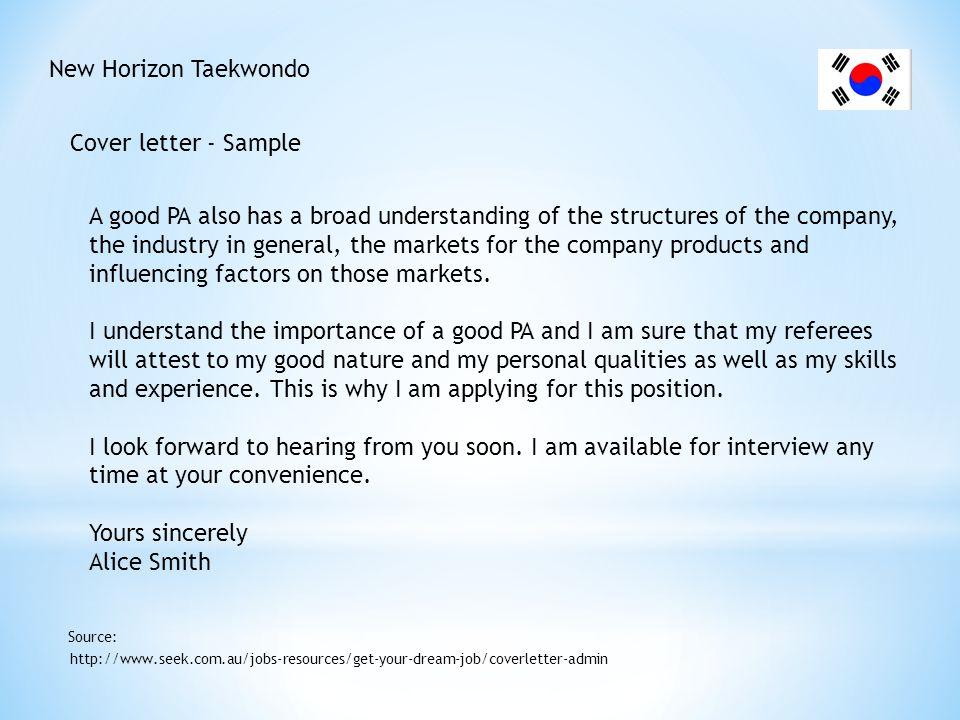 New Horizon Taekwondo Cover letter - Sample