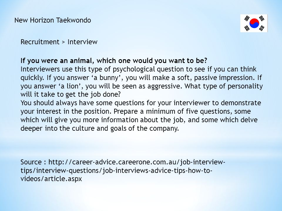 New Horizon Taekwondo Recruitment > Interview. If you were an animal, which one would you want to be