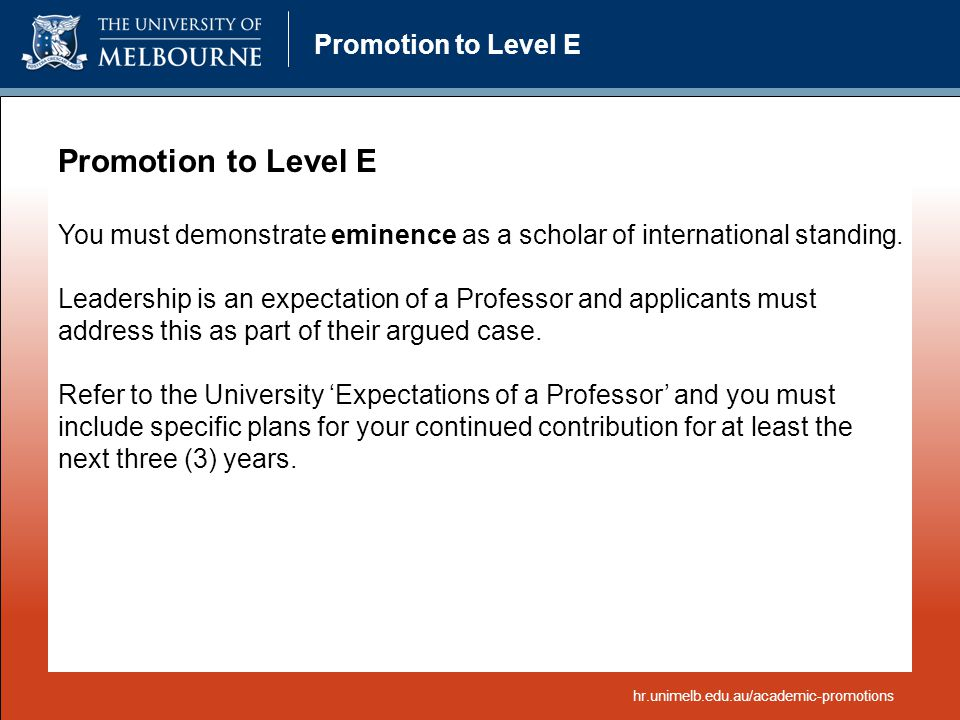 Promotion to Level E Promotion to Level E