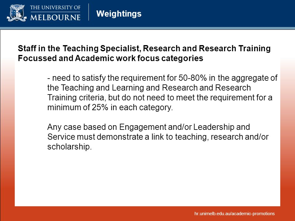 Weightings Staff in the Teaching Specialist, Research and Research Training Focussed and Academic work focus categories.