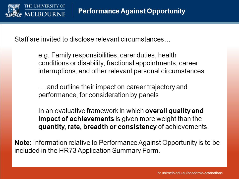 Performance Against Opportunity