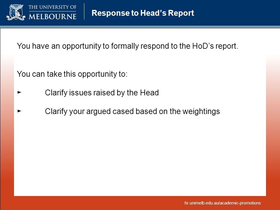 Response to Head's Report
