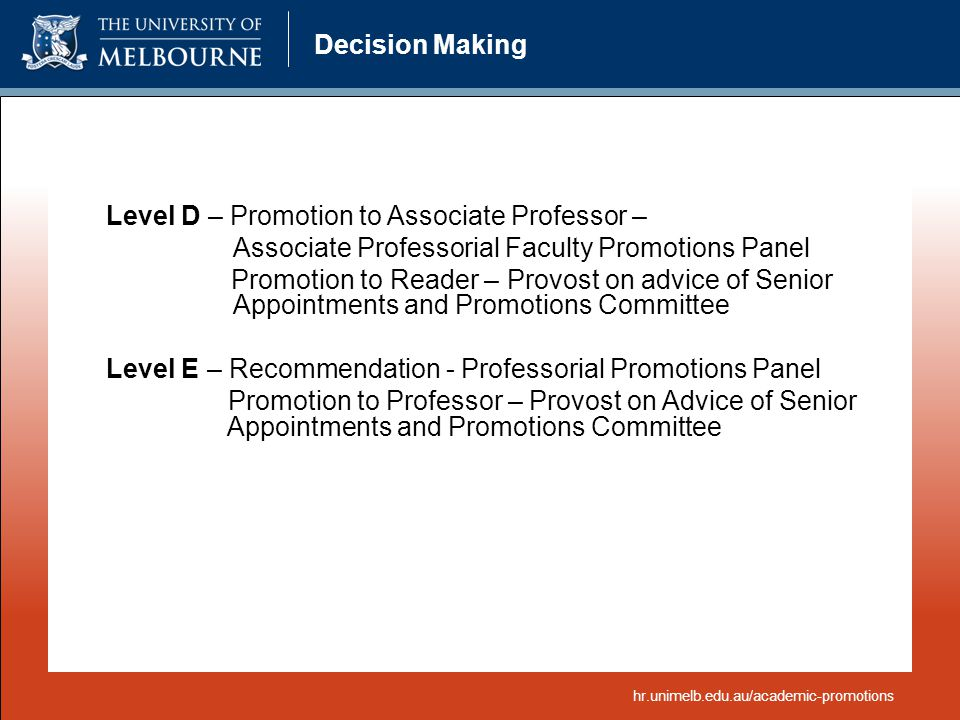 Level D – Promotion to Associate Professor –