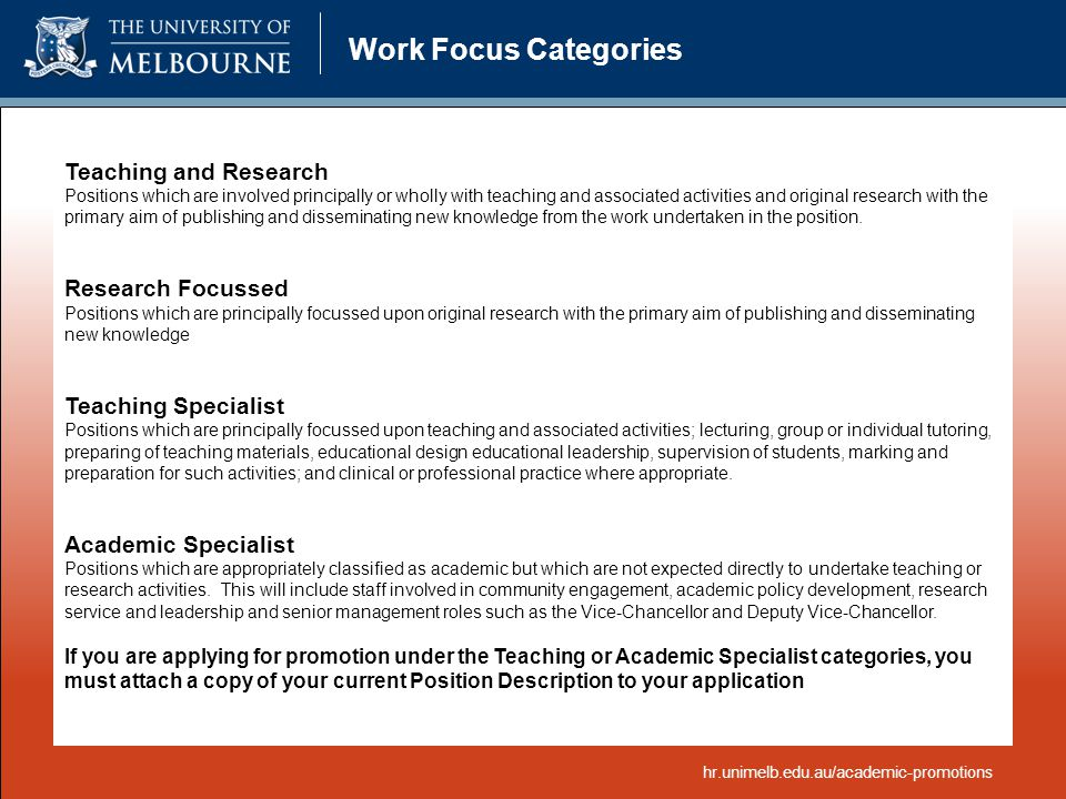 Work Focus Categories Teaching and Research Research Focussed