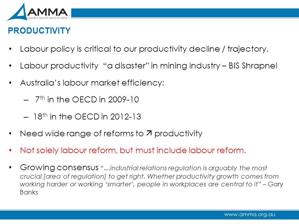 PRODUCTIVITY Labour policy is critical to our productivity decline / trajectory. Labour productivity a disaster in mining industry – BIS Shrapnel.