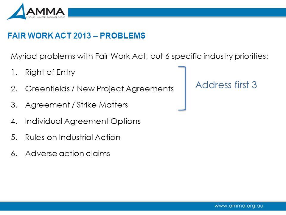 Address first 3 FAIR WORK ACT 2013 – PROBLEMS
