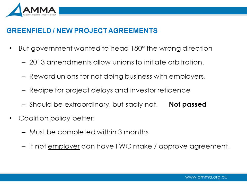 GREENFIELD / NEW PROJECT AGREEMENTS
