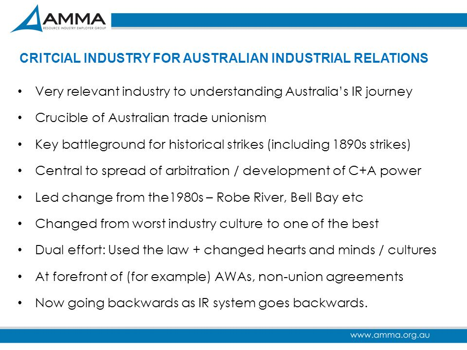 CRITCIAL INDUSTRY FOR AUSTRALIAN INDUSTRIAL RELATIONS