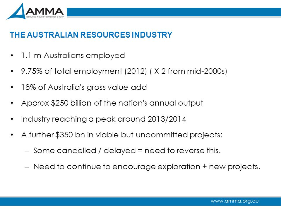 THE AUSTRALIAN RESOURCES INDUSTRY