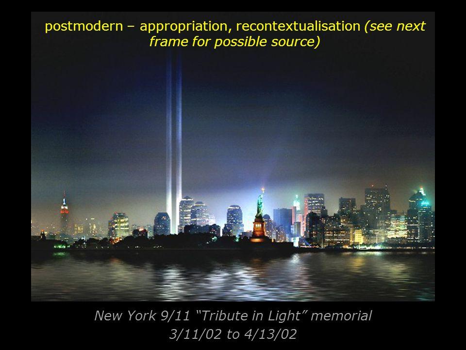 New York 9/11 Tribute in Light memorial 3/11/02 to 4/13/02