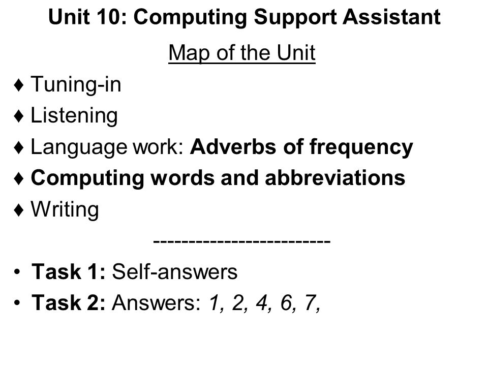 Unit 10: Computing Support Assistant