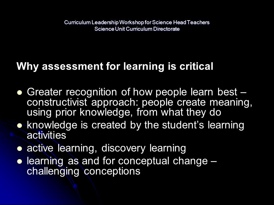 Why assessment for learning is critical