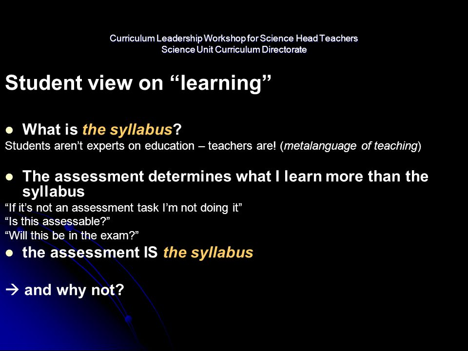 Student view on learning