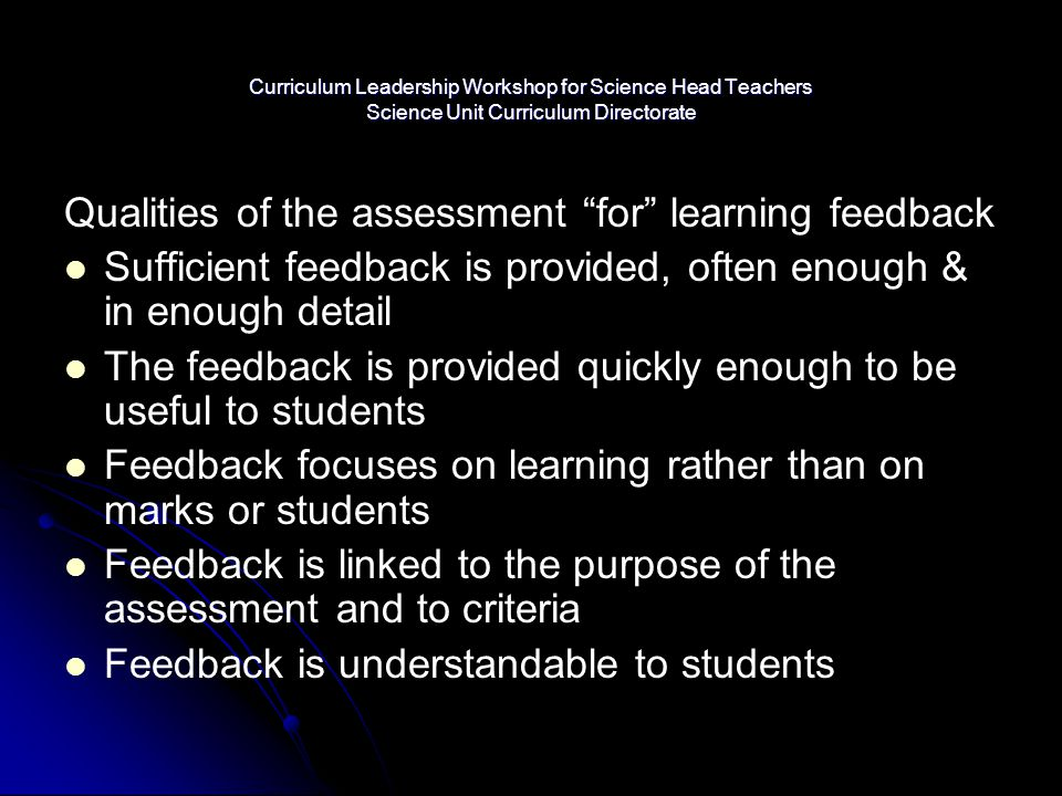 Qualities of the assessment for learning feedback