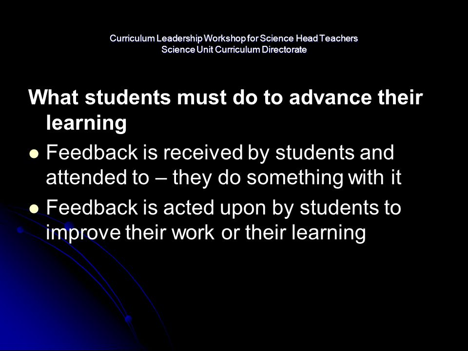 What students must do to advance their learning