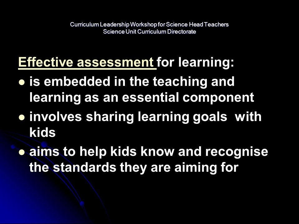 Effective assessment for learning: