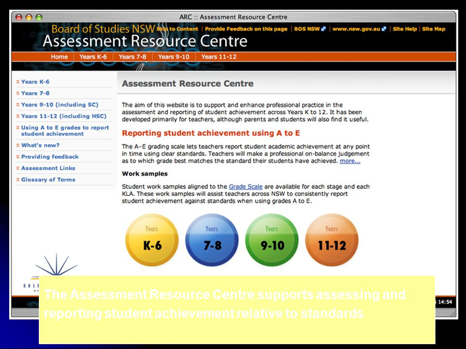 The Assessment Resource Centre supports assessing and reporting student achievement relative to standards