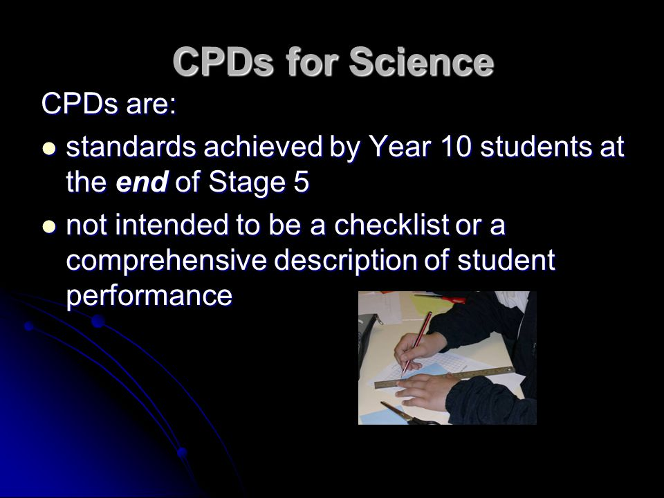 CPDs for Science CPDs are: