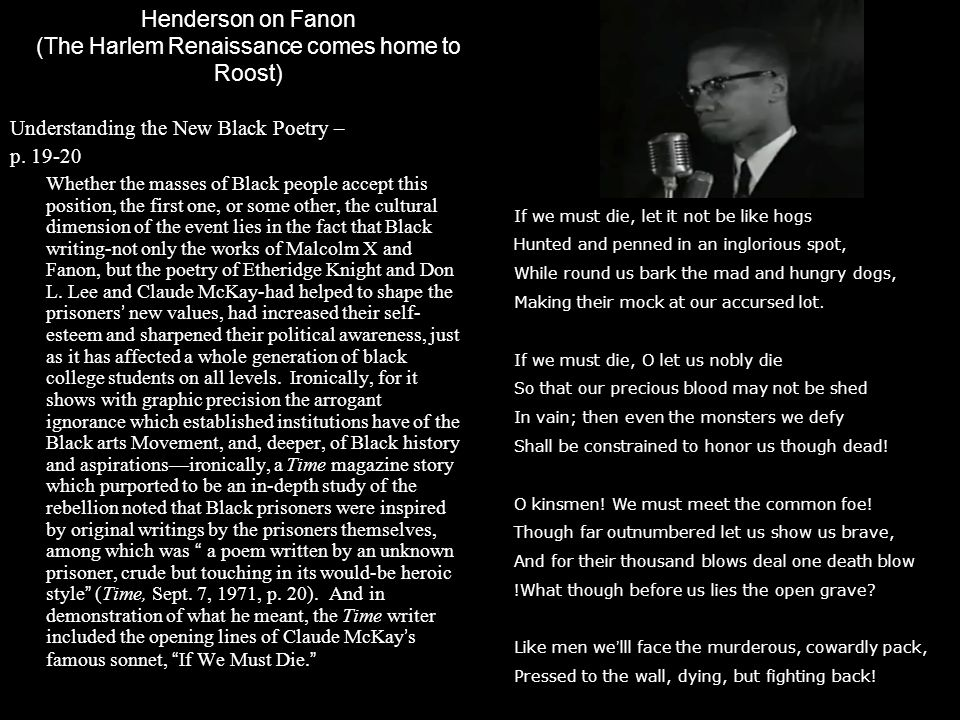 Henderson on Fanon (The Harlem Renaissance comes home to Roost)