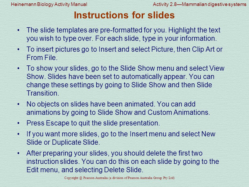 Instructions for slides