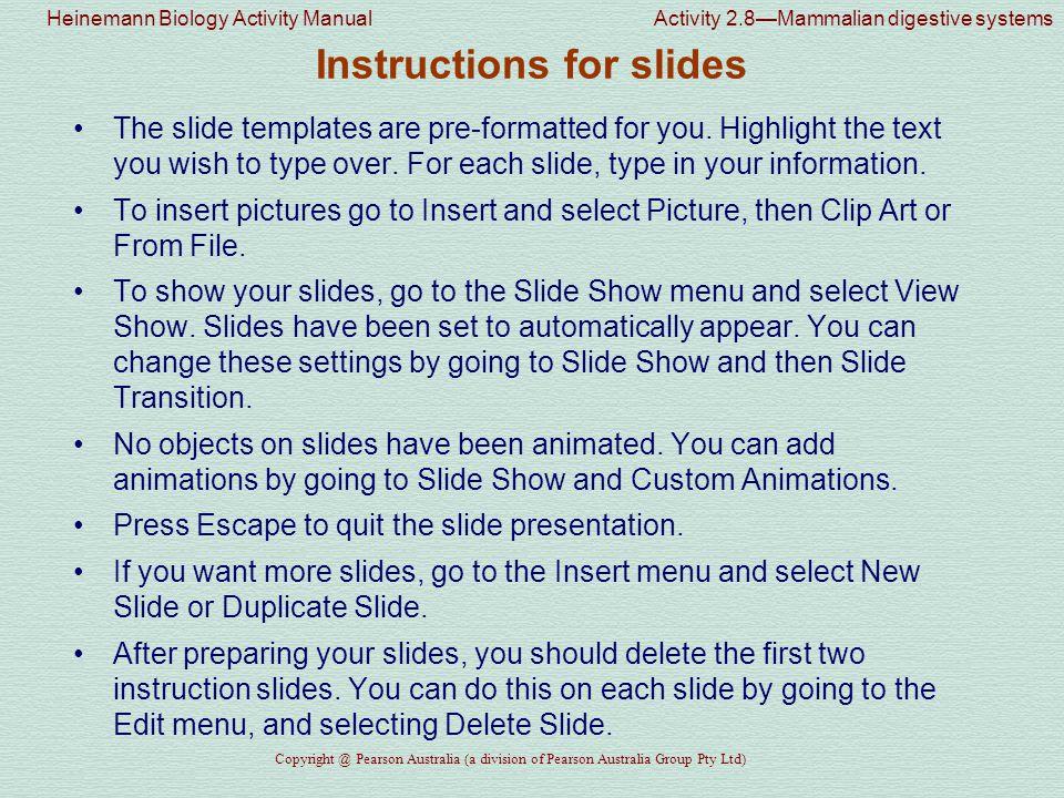 Instructions for slides