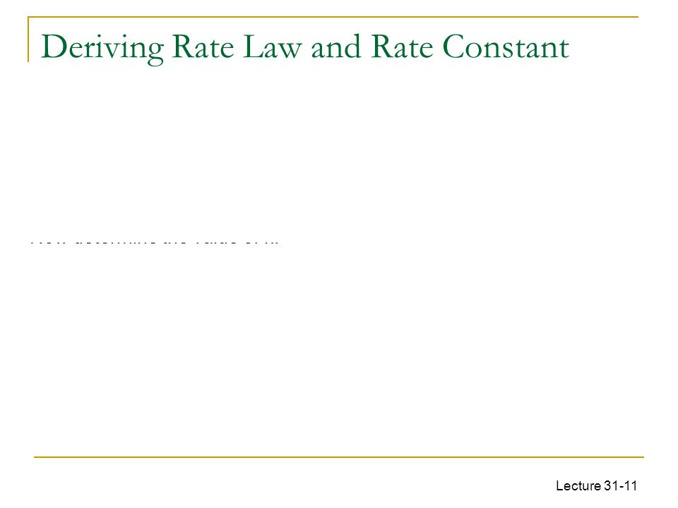 Deriving Rate Law and Rate Constant