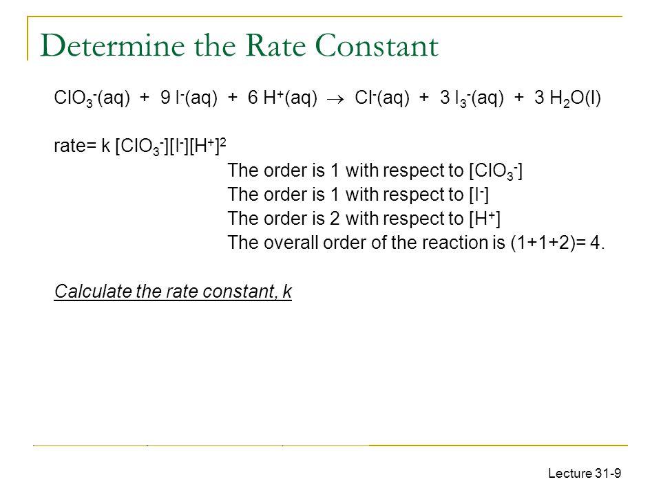 Determine the Rate Constant