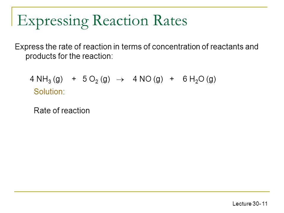 Expressing Reaction Rates