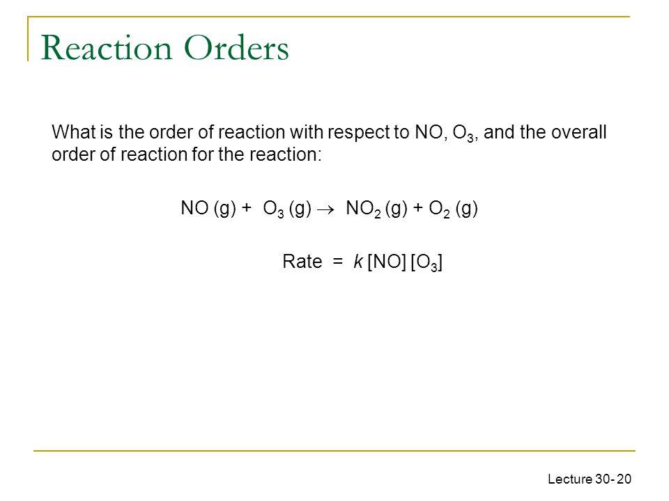 NO (g) + O3 (g)  NO2 (g) + O2 (g)