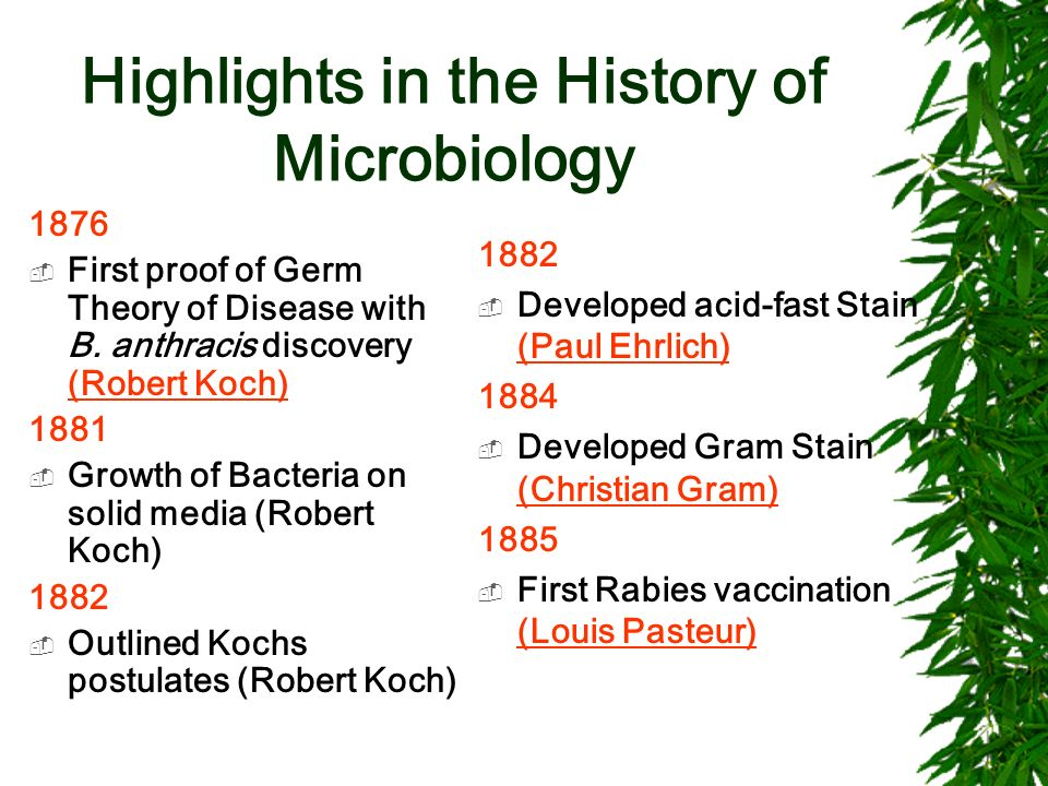 Highlights in the History of Microbiology