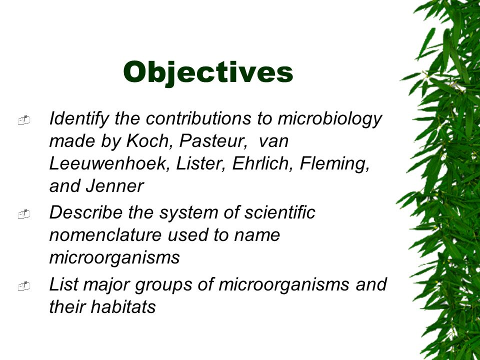 Objectives Identify the contributions to microbiology made by Koch, Pasteur, van Leeuwenhoek, Lister, Ehrlich, Fleming, and Jenner.