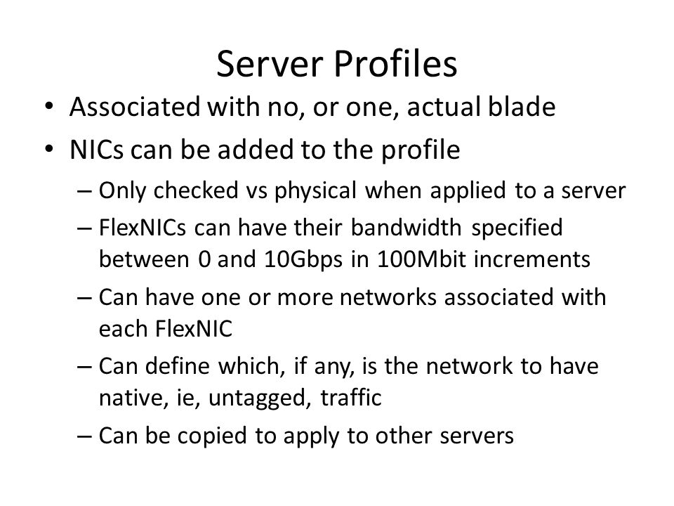 Server Profiles Associated with no, or one, actual blade