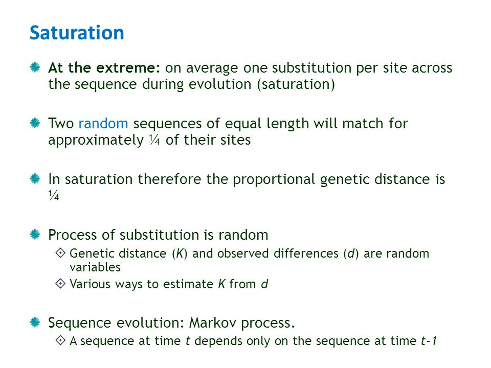 Saturation At the extreme: on average one substitution per site across the sequence during evolution (saturation)
