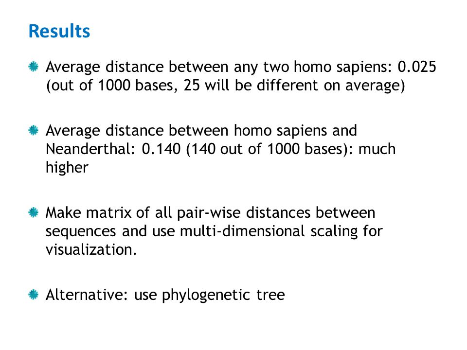 Results Average distance between any two homo sapiens: 0.025 (out of 1000 bases, 25 will be different on average)