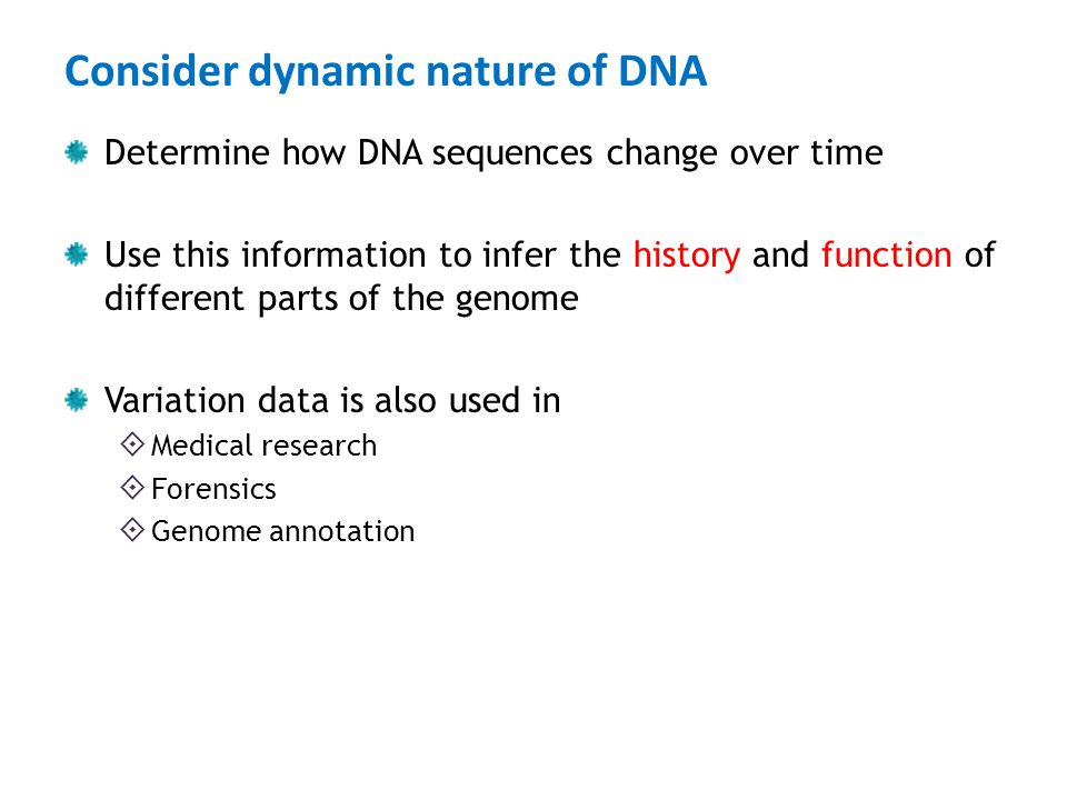 Consider dynamic nature of DNA