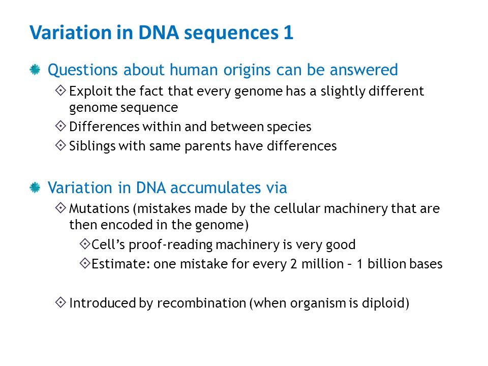 Variation in DNA sequences 1