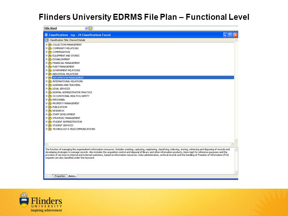 Flinders University EDRMS File Plan – Functional Level