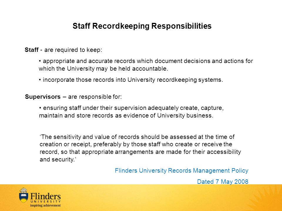 Staff Recordkeeping Responsibilities