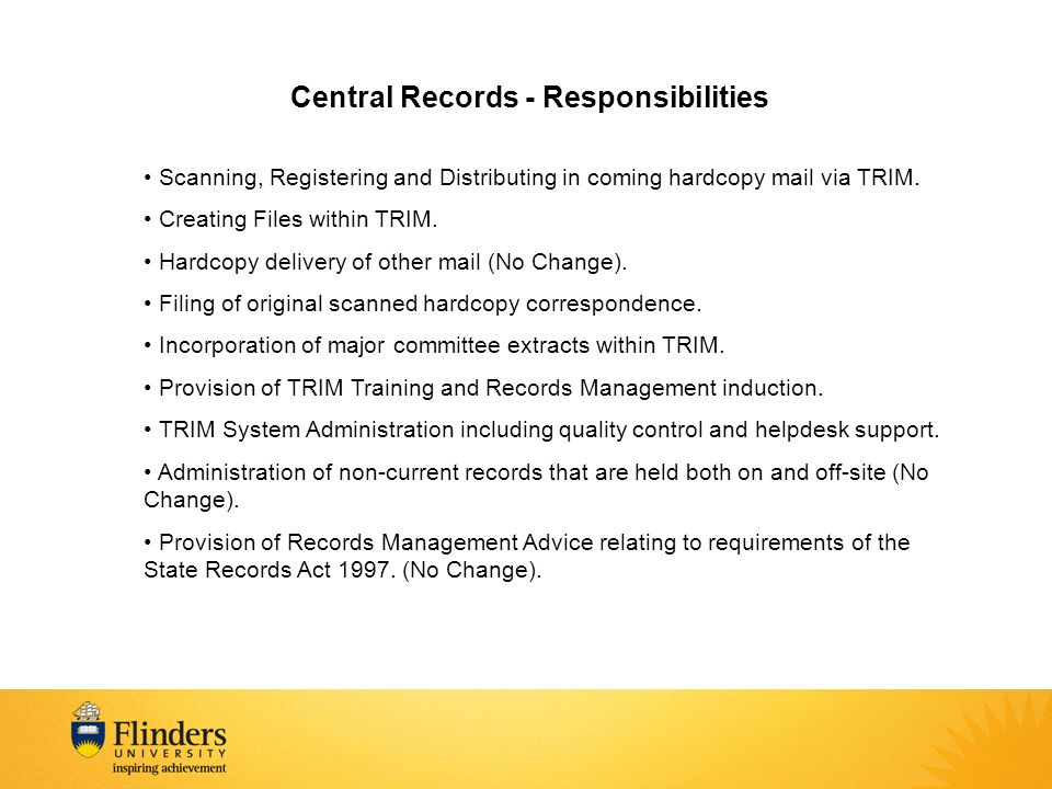 Central Records - Responsibilities