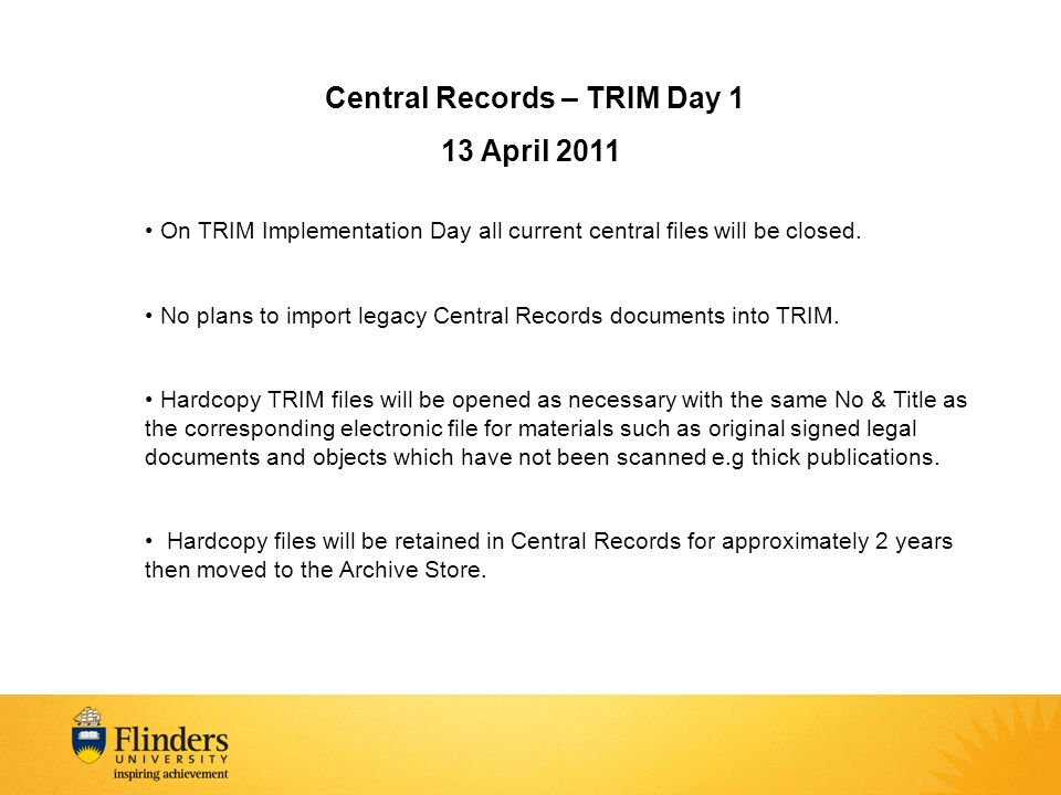 Central Records – TRIM Day 1
