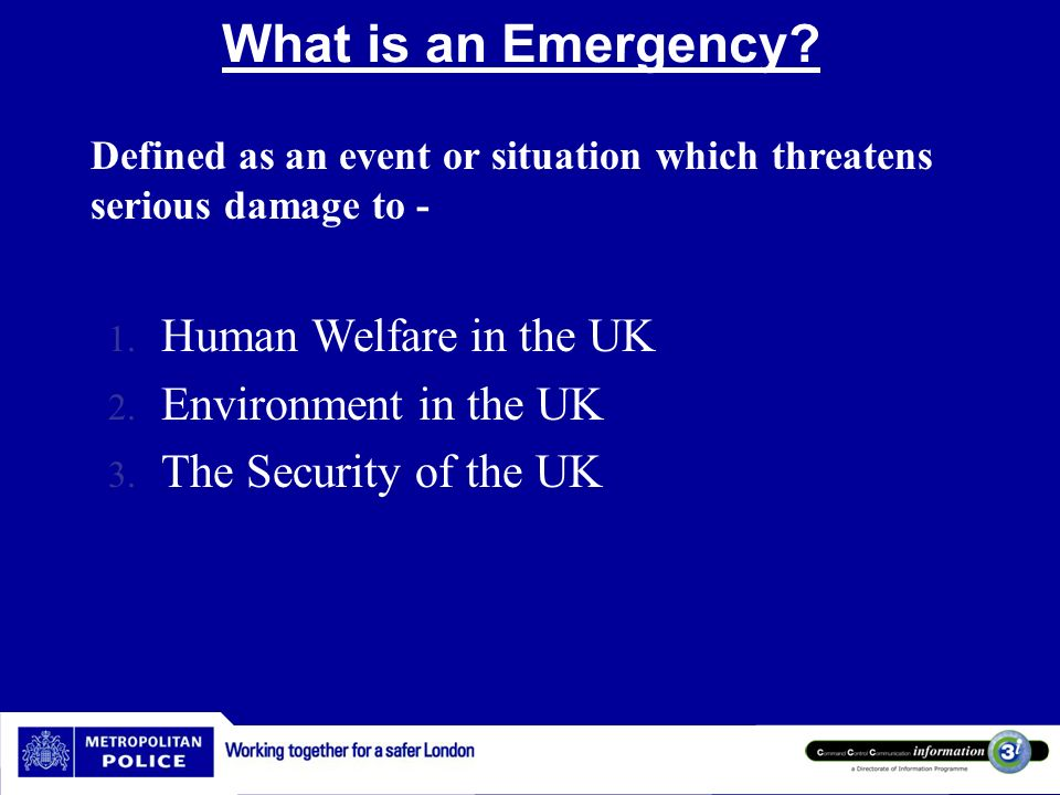 What is an Emergency Human Welfare in the UK Environment in the UK