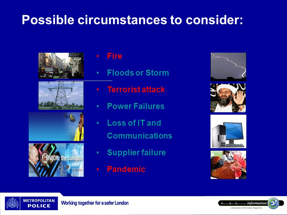 Possible circumstances to consider:
